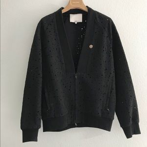 Helmut Lang Holy Distress Lace Bomber Jacket